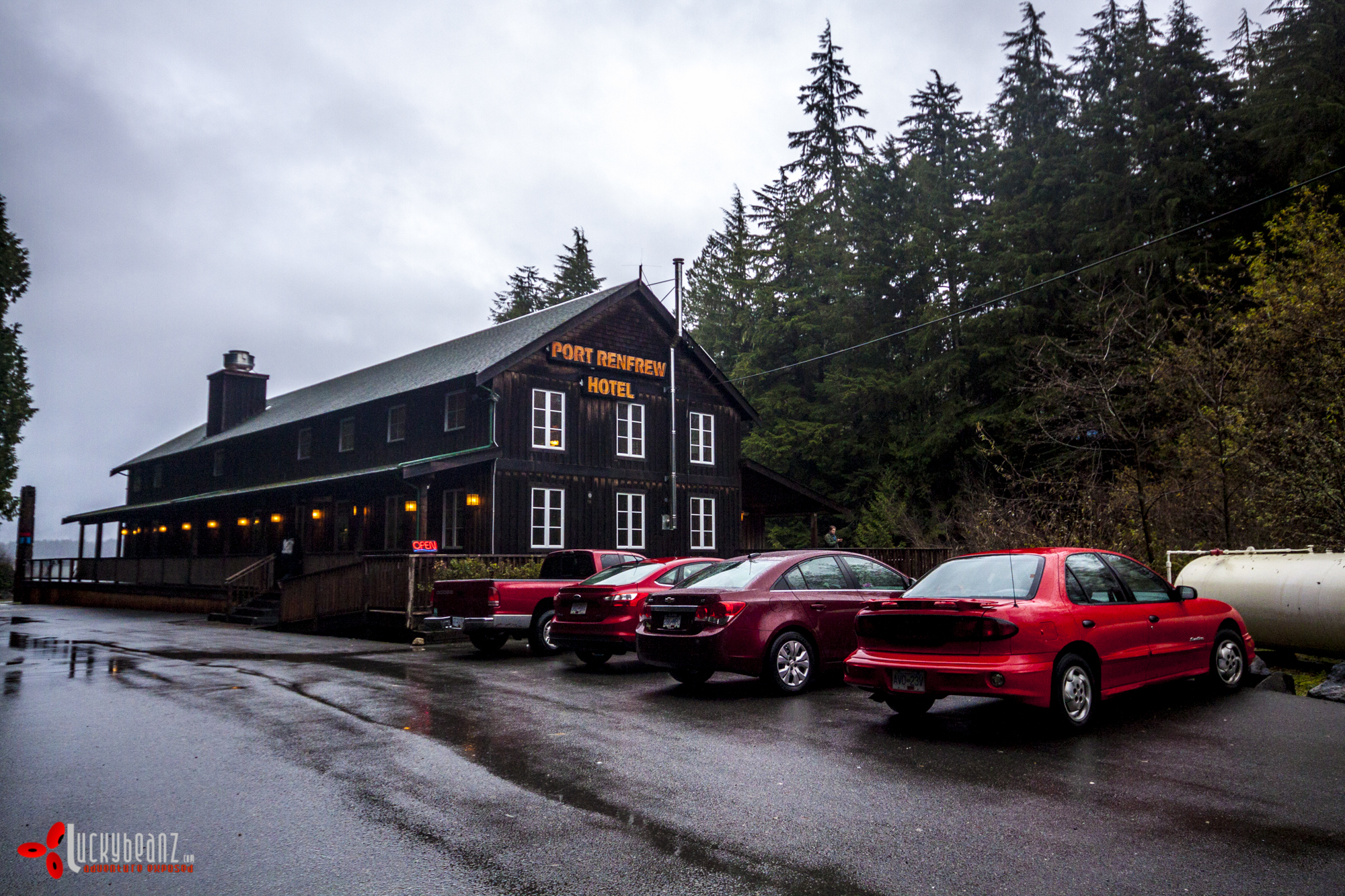 Port Renfrew Hotel red cars club.