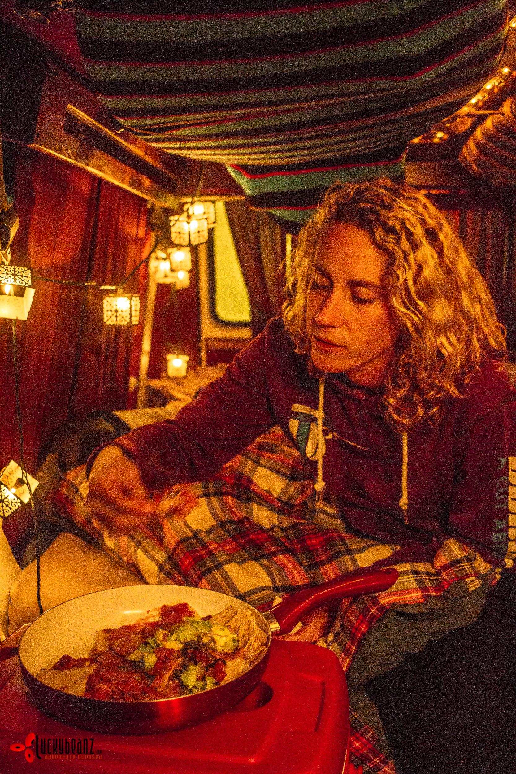 Nacho night in the van.