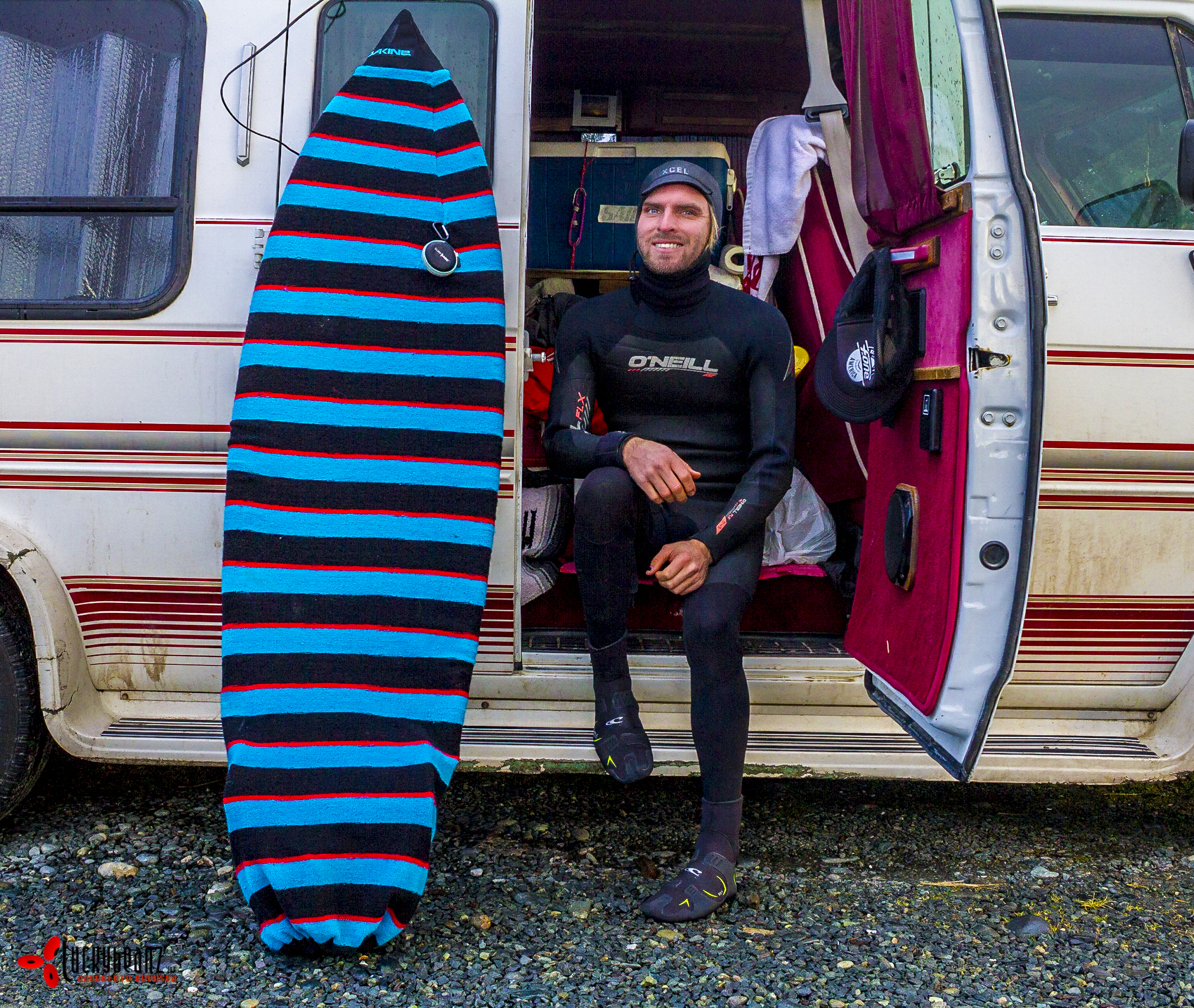 Ready for my first cold water surf in Jordan River.