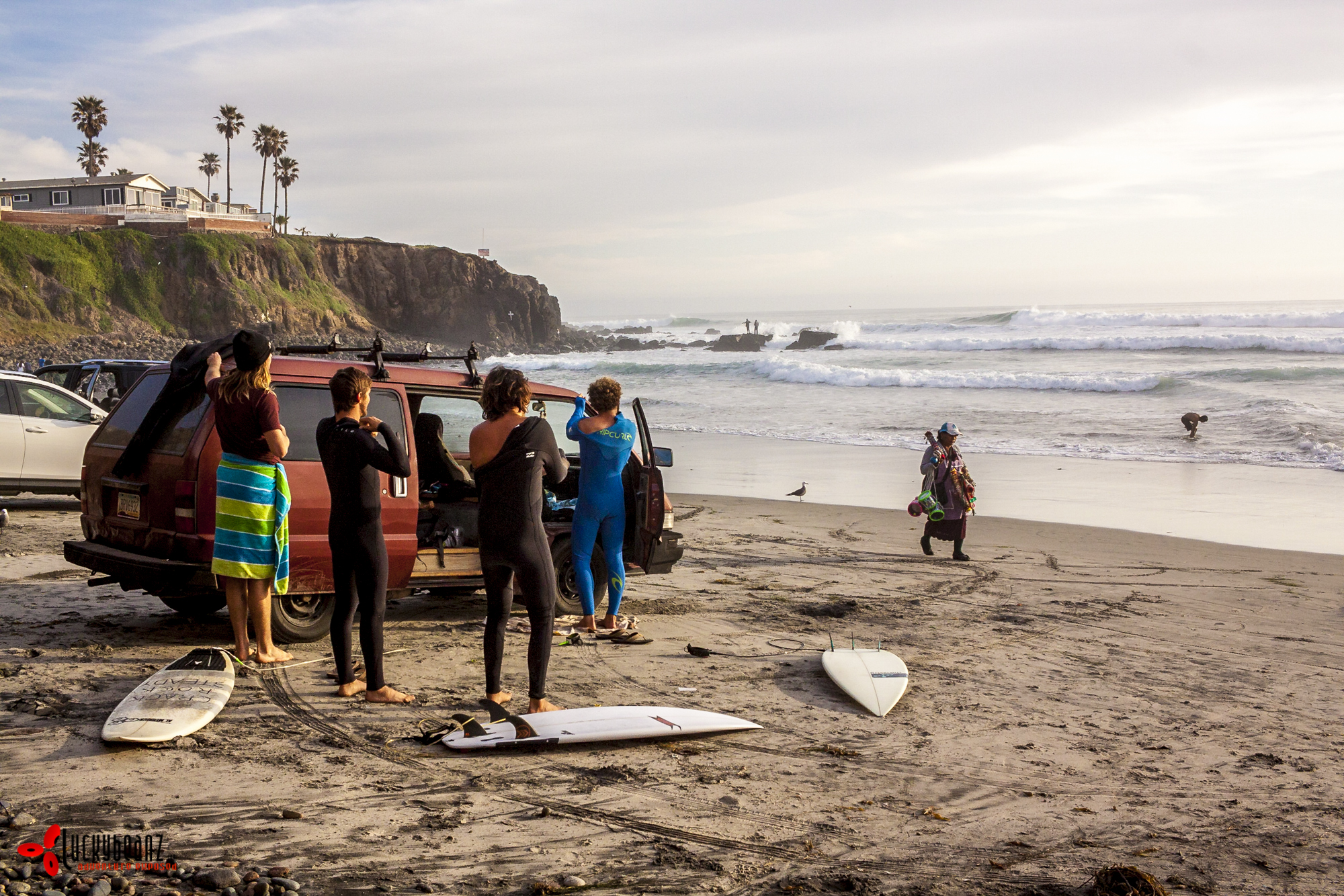 Suiting up at with the legends of the Surf House.