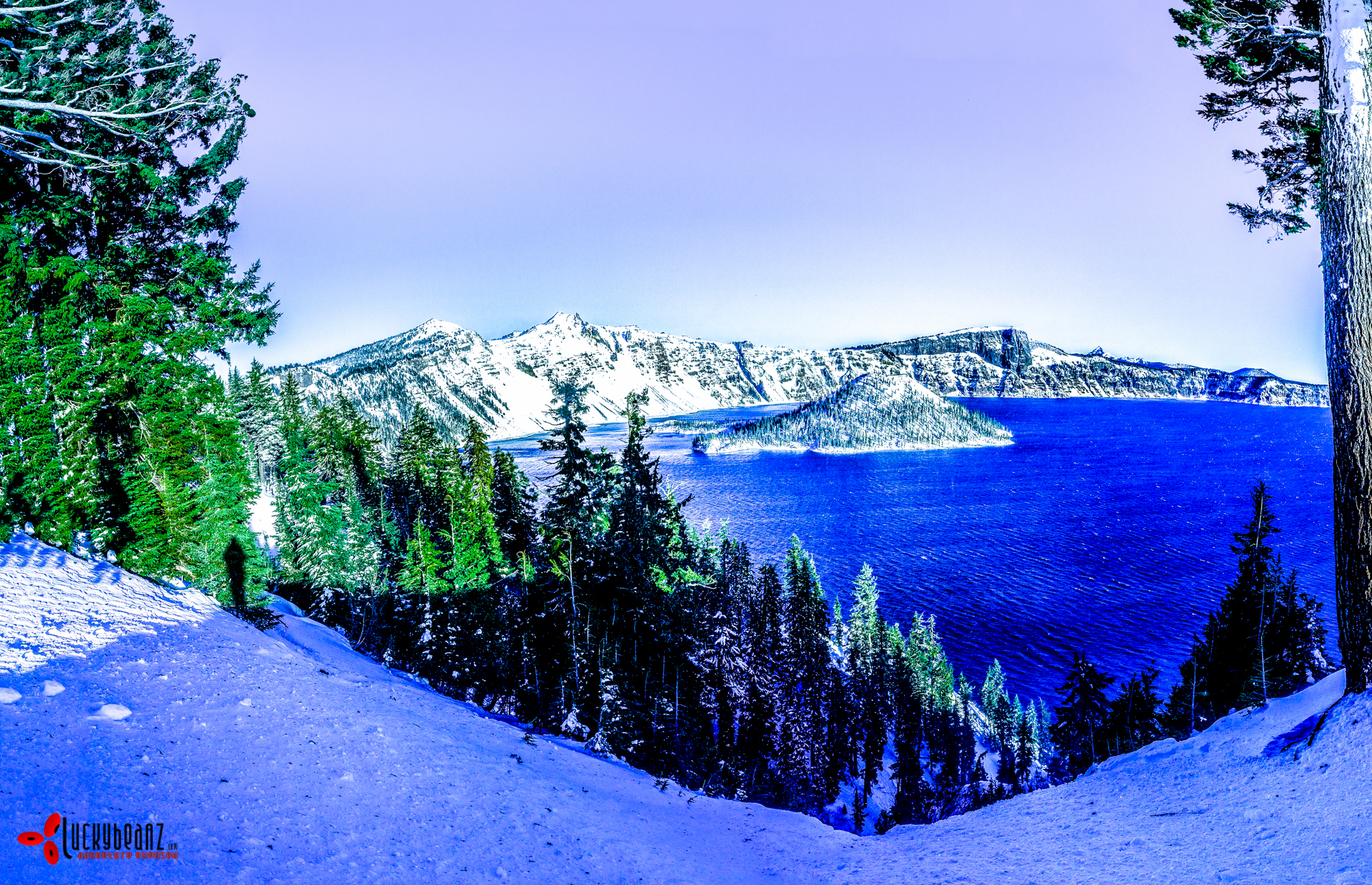A windswept crater lake, Oregon.