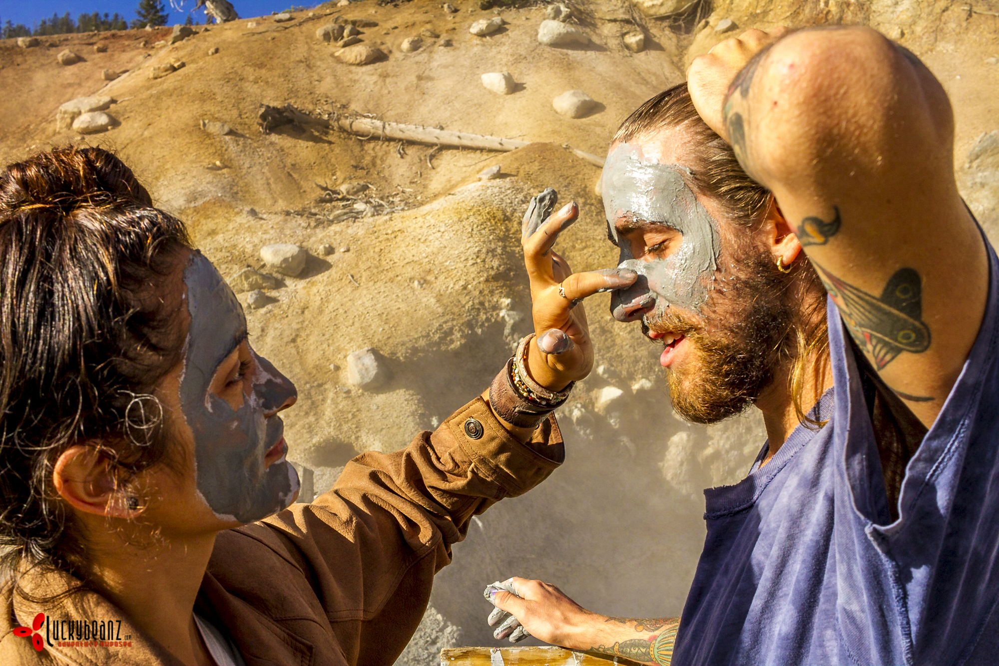 Painting faces in Lassner Volcanic Park. These two saw Virginia and I doing it and decided to join in.