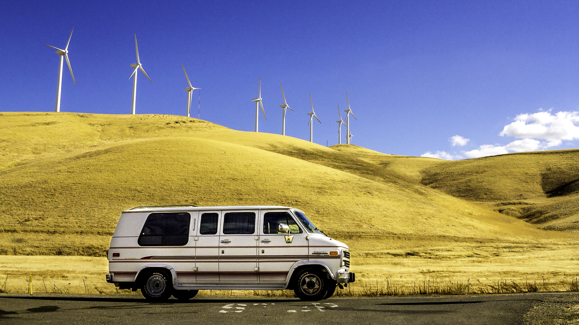 Van with wind turbines