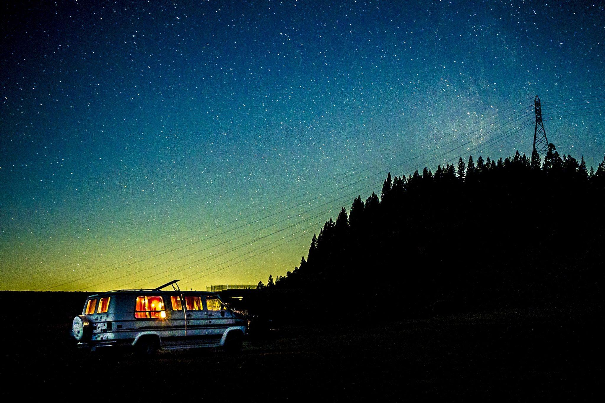 Van under the stars