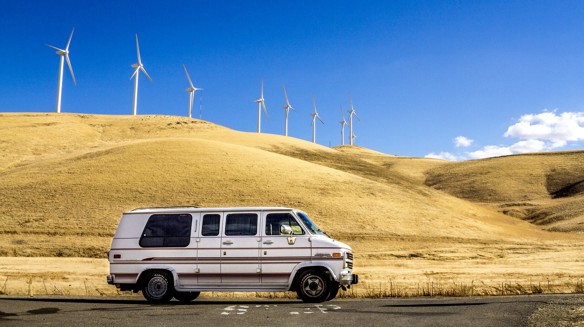 Van under wind farm