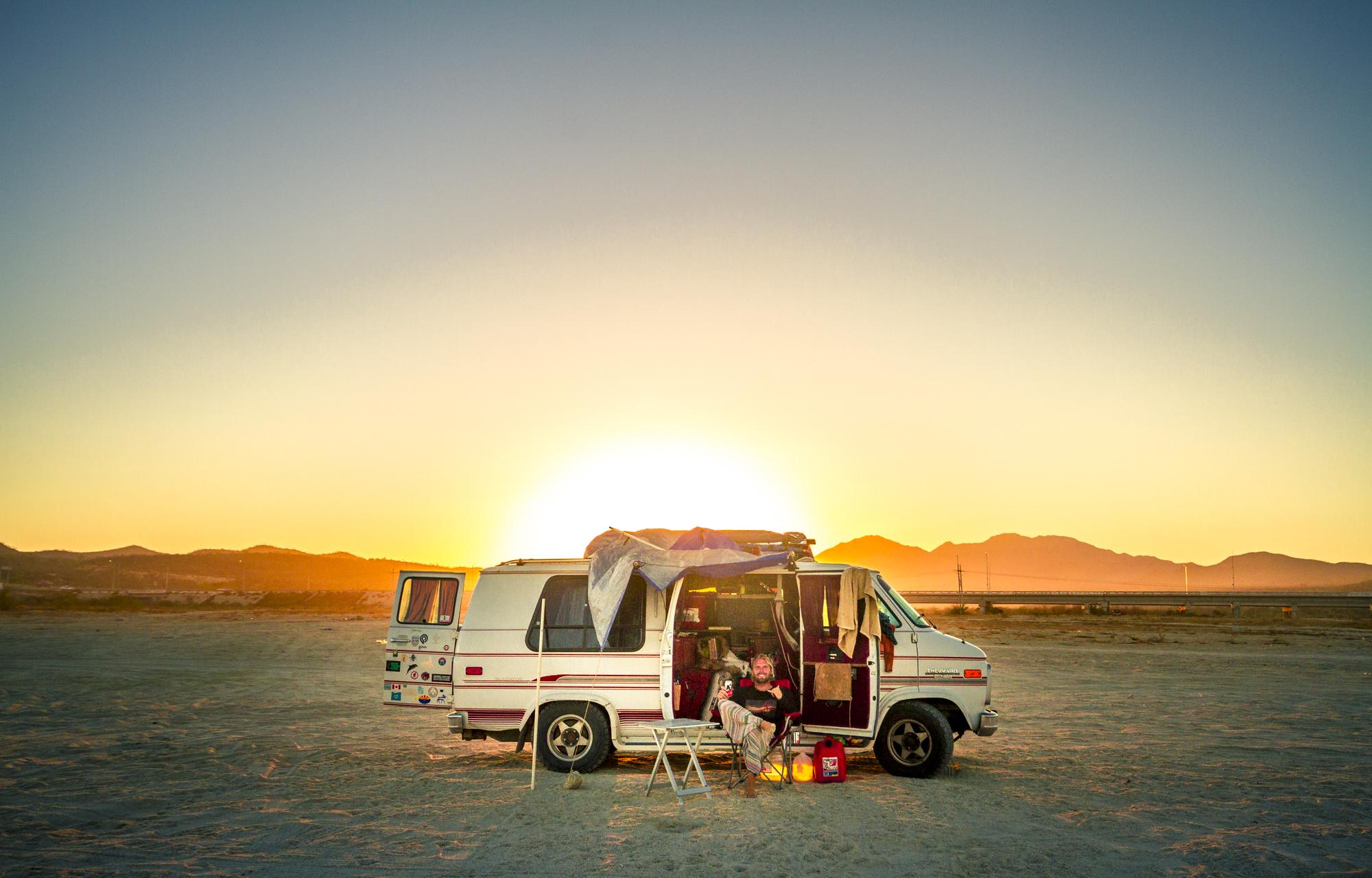 Van charging under the sun.